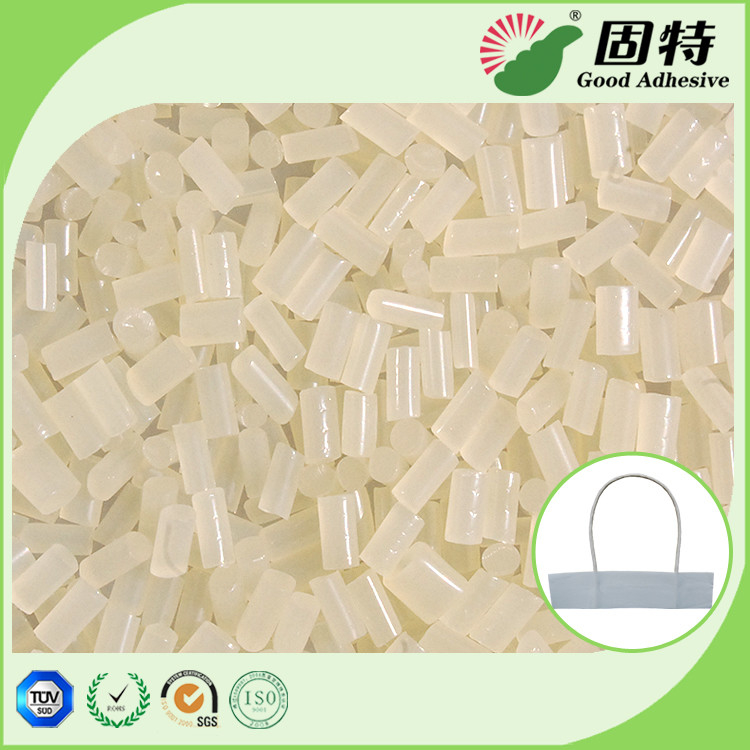 Good flowability,Strong bonding strength for paper handle attachment.​EVA Yellowish granule Hot Melt Glue Adhesive